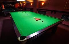 Snooker Table, set up for  game Stock Photos