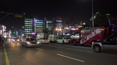 Emergency & Security services at Marine City road in time of night festival. Stock Footage