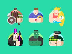 Set avatar design flat Stock Illustration