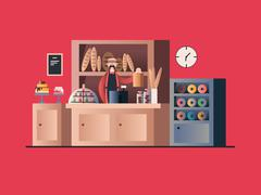 Bakery interior with seller Stock Illustration