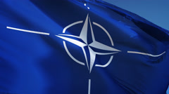 NATO flag in slow motion seamlessly looped with alpha Stock Footage
