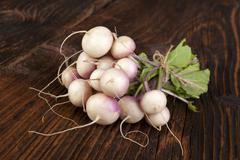 Ripe fresh radish bundle. - stock photo