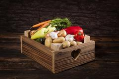 Vegetable in wooden crate. Stock Photos