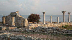 Colonnade in ruins of Ancient Greek city Chersonese in morning, Sevastopol, Stock Footage