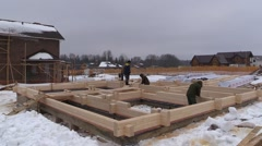 Timber wood glulam country house under construction Stock Footage