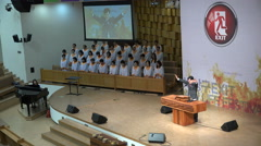 Sunday mass in a modern church in Seoul, religion in South Korea Stock Footage