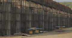 Unfinished Concrete Structures With Fittings (4K) Stock Footage