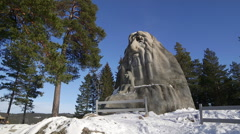 Famous troll at holmenkollen oslo norway distant view pan right to left Stock Footage