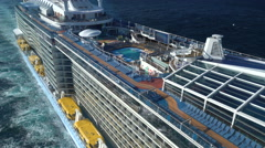 Aerial shot of large cruise ship at sea - Anthem of the seas Stock Footage