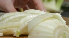 Fennel chopping close up - stock footage
