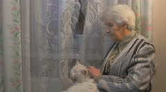 Old woman stroking a cat Stock Footage