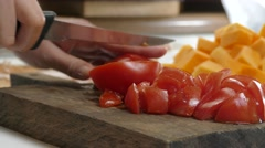Tomato chopping for soup - stock footage
