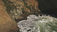 Rocks and Surf in Cove Aerial near Point Arena HD Stock Footage