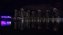 Types of Busan. Centum Marina Park & Dwelling in the Centum City  at night Stock Footage