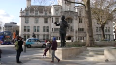 4K Footage of Nelson Mandela Statue in Parliament Square, Westminster Stock Footage