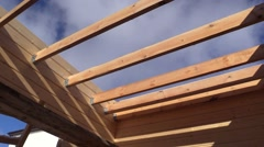 Timber wooden glulam country house under construction inside Stock Footage
