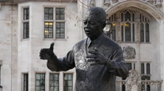 4K Footage of Nelson Mandela Statue in Parliament Square, Westminster - stock footage