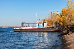 """Vessel type """"Yaroslavets"""" project RVN-376 on the river Volga in clear sunny d - stock photo"""