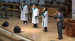 Beautiful performance of a church choir on stage, Sunday mass Seoul, South Korea Stock Footage