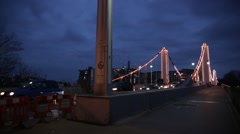 Chelsea bridge at night, London, England, Europe Stock Footage