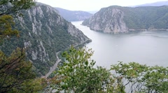 Danube to the Boilers. Mountain scenery in the gorge formed by a river crossing Stock Footage