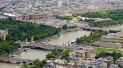 Aerial view of the Paris city with Pont Alexandre 3 and Place de la Concorde Stock Footage