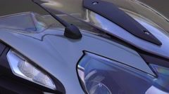 Close up new motorcycle BMW, tilt down Stock Footage