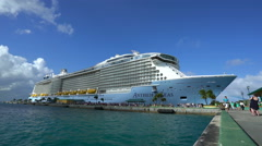 Big cruise ship in port of Nassau - Anthem of the seas, Bahamas - stock footage