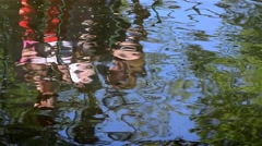 Reflection rowing boats seen the greenish water of a lake near forest Stock Footage