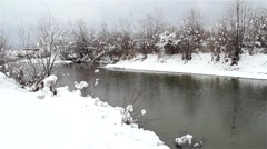 Winter landscape on a river of lowland bordered by a small wood covered by snow - stock footage