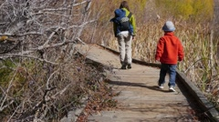 A mother and boys walking on boardwalk in botanical garden - stock footage