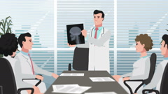 Cartoon Clinic / Man doctor shows head X-ray Stock Footage