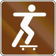 United States MUTCD guide road sign - Skate-park - stock illustration