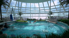 Indoor swimming pools on the cruise ship - Anthem of the seas. - stock footage