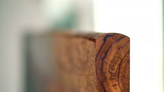 Teak wood work panel details. Carpenter use machine to make curve for door swing Stock Footage