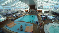Indoor pool deck in the cruise ship - Anthem of the seas. - stock footage