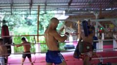 THAI BOXERS. MUAYTHAI TRAINING. THAILAND. KRABI. 15.12.15 - stock footage