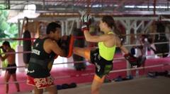Thai boxer. Muaythai training Stock Footage