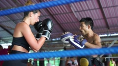 Thai boxer. Muaythai training Stock Footage