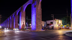 Old aqueduct of the Queretaro city. Stock Footage