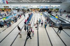 ANTALYA, TURKEY - June 16, 2014: the baggage claim area at the international  - stock photo