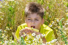 Boy with allergic rhinitis in  meadow - stock photo