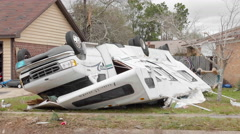Tornado aftermath - RV Motorhome crushed Stock Footage