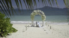 Wedding decoration on the tropic island - stock footage