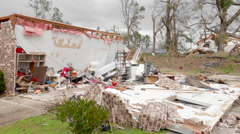 Tornado aftermath - damaged homes 155mph wind Stock Footage