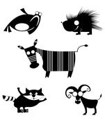 Comic animal silhouettes Stock Illustration