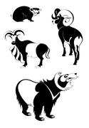 Stock Illustration of Vector original art animal silhouettes