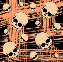 Grunge seamless background with scull - stock illustration