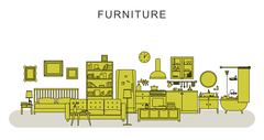 Stock Illustration of Furniture and home decoration