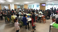 Community church in Seoul, South Korea, restaurant, lunch after Sunday prayer Stock Footage
